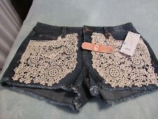 GB, JUNIOR'S NEW Blue Cotton Blend Shorts W/Beige Crocheted Lace Front, Size 5