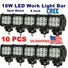 10x 4inch 18W CREE LED WORK LIGHT BAR SPOT BEAM CUBE LIGHT OFFROAD ATV ROOF LAMP