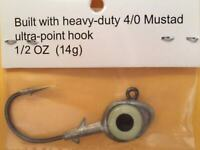 6pcs Vivid, 3D Eyes Jigheads 1/2 Oz Swim Bait Jig Head Mustad 4/0 Hooks