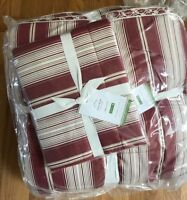 Pottery Barn Lanie Comforter Red Queen 2 Standard Shams Striped Floral Laine 3pc