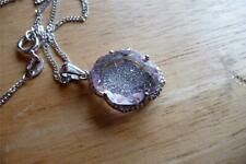 LAVENDER PINK AMETHYST & CZ 925 STERLING SILVER PENDANT CHAIN NECKLACE 18INS