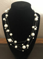 New Simply Vera Wang Faux Pearl Silvertone Necklace