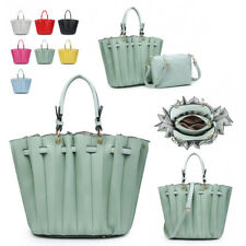 Ladies Pleated Shoulder Bag Bucket Handbag Faux Leather Womens Bag in Bag MW5144