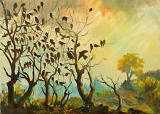 » Vogelschwarm in stimmungsvoller Landschaft « Signatur ?