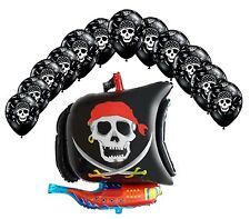 Pirate Ship shaped Foil Balloon + 12 x Pirate Skull & Crossbones Latex balloons