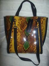French Connection Snake Print Tote Hobo Bag YELLOW MULTI NEW