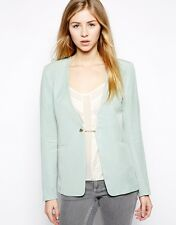See U Soon Padded Shoulders Tailored Blazer With Chain in Mint XXS/UK 6/EU 34