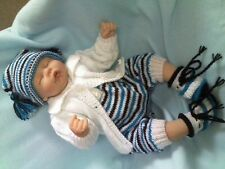 """KNITTING PATTERN 4 PIECE ROMPERS SET BABY 0-3 MTHS REBORN DOLL 19-21"""" No 39"""