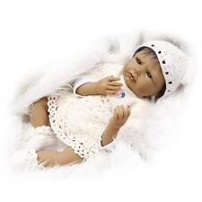 Newborn Silicone Vinyl 22'' Reborn Black Baby Dolls Handmade Lifelike + Clothes