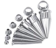 2 in 1 Set Screw On Ear Taper & Flesh Tunnel Stretcher Earplugs Expander Kit
