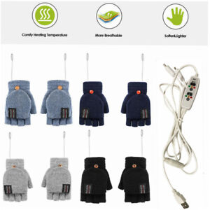 Winter Electric USB Rechargeable Mitten Heated Gloves Half-Finger Warmer New