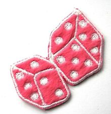 PINK DICES Small Embroidered Patch Sew/ Iron On Gambling Emo Goth Rock Chick