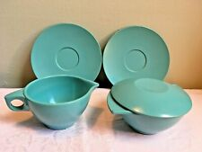 Mid Century Boontonware Sugar Bowl & Creamer Blue Melmac Melamine + 2 saucers