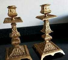 PAIR OF ORMOLU SQUARE BASED ORNATE CANDLESTICKS 23CM TALL WITH FOUNDRY MARK