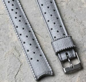 Rare 16mm grey Genuine Tropic Swiss dive band curved ends 1960s/70s divers strap