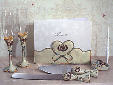 7 Pc Country Cowboy Western Wedding Guest Book Toasting Flutes Cake Serving Set