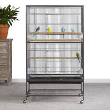 Wrought Iron Extra Large Bird Cage for Parrot Budgie Canary W Stand Wheel Castor