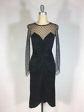 Vintage 1970's-does-1930's black VAMP Film Noir dress w/sweetheart bust & mesh