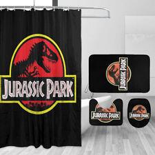 Jurassic Park Bathroom Rugs 4PCS/Set Shower Curtain Bath Mat Toilet Lid Cover