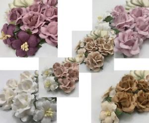 32pc Paper Flower + Leaves Kit Pack Scrapbook DIY Wedding Home Craft Supply BE71