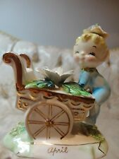 Rare Vintage Norcrest 'April' Birthday Pixie/elf w/Daisy Flower Cart #F447