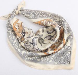 """100% Silk 20"""" small Square Scarf Women neckerchief Wrap beige gray JH17-27"""