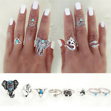 8PCS/Set Antique Silver Plated Vintage Bohemian Turkish Midi Ring*v*