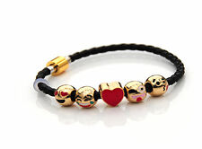 Emoji Charms on PU Plaited Leather Bracelet Gold Finish Magnetic Clasp up to 7""