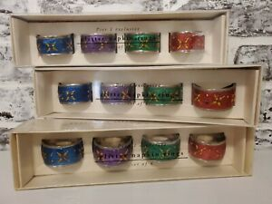 Pier 1 Exclusive Glitter Napkin Rings Set  12 Jeweled Holiday Christmas Morrocan