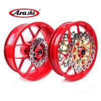 Red Front Rear Wheel Rims Brake Rotors Fit HONDA CBR1000RR 2006 - 2016 2014 2013