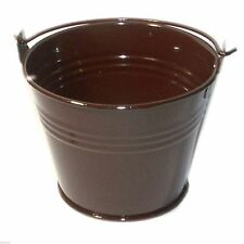 Pack of 10 Metal Chocolate Brown Favour Pails Favour Buckets XMEFABU10