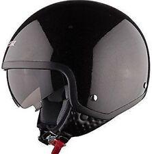 LS2 OF561 Wave Casque Scooter Visage Ouvert avec Biellette Visière Noir Brillant