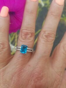 Emerald Cut Bright Tropical Blue Topaz Split Band Ring, 925 Silver, Size 6
