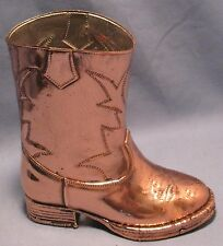 VINTAGE COLLECTIBLE COPPER RUBBER BOOT MOLD w/MOLDED COWBOY DESIGN SIZE 6