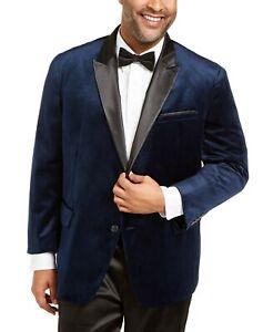INC International Concepts INC Men's Big & Tall Max Velvet Blazer Navy 3XB