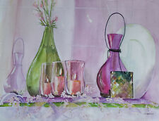 """Painter Suzanne Obrand, Holocaust Survivor, Watercolor """"Glowing Candles"""""""