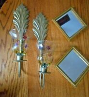 Vintage Home Interior Set 2 Sconces w/2Flowered Votive Cups, 2 Mirrors Wall Hang