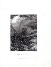 """Antiguo galés Impresiones - """"rhaiadr y purthen"""" - Radclyffe acero grabado (1872)"""