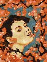 PAINTING WOMAN EATING CHERRIES FINE ART PRINT POSTER CC1028