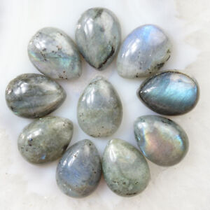 Natural Labradorite Faceted Teardrops Loose Beads 12x26mm Top Half Drilled Teardrop Beads-Earing Beads 3 Pieces Set LM 27