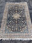 Antique 4'x6' WOOL/SILK Nain Naeen Oriental Area Rug Hand-Knotted Navy and Beige