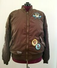 Ed Hardy Bomber Jacket Brown Size XL Don Ed Hardy 10 TIGER embroidered patch