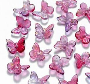 20 DEEP PINK GLITTER BUTTERFLY GLASS CHARMS BEADS 10mm TOP QUALITY GLS51