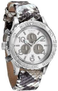 Nixon 42-20 Chronograph White Snake Leather Strap Womens Watch A037843
