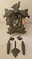 Poppo Vintage Japanese Cuckoo Clock w/ Weights & Crown - FOR PARTS/REPAIR