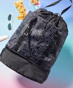 New Girls Justice Logo Drawstring Tote Bag Black White Sports