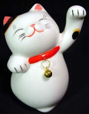 Maneki Neko Beckoning Cat Japanese Porcelain Happiness Talisman Lucky Mascot