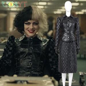 2021 Movie Cruella Cosplay Costume Full Suit Jacket Dress Any Size Halloween