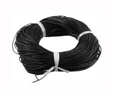 Cowhide Leather Round Cord/Thong, Black, 1.5mm thick