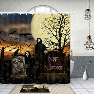 Grim Reaper Halloween Shower Curtain Complete Bathroom Set Waterproof